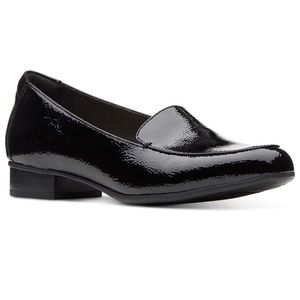 Clarks Black Patent Leather Loafers